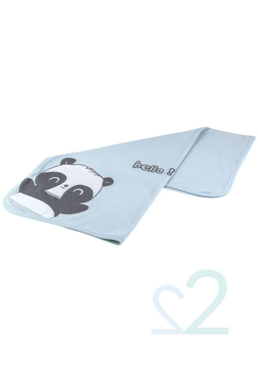 Κουβερτάκι από οργανικό βαμβάκι Happy Panda 85x90εκ.
