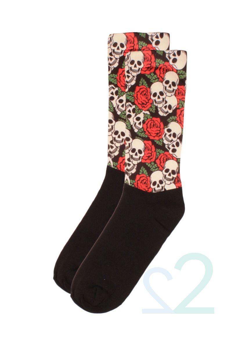 Κάλτσες γυναικείες Printed Roses & Skulls